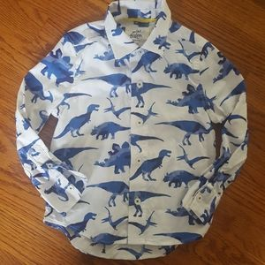 NWOT Mini Boden Dinosaur Button Down